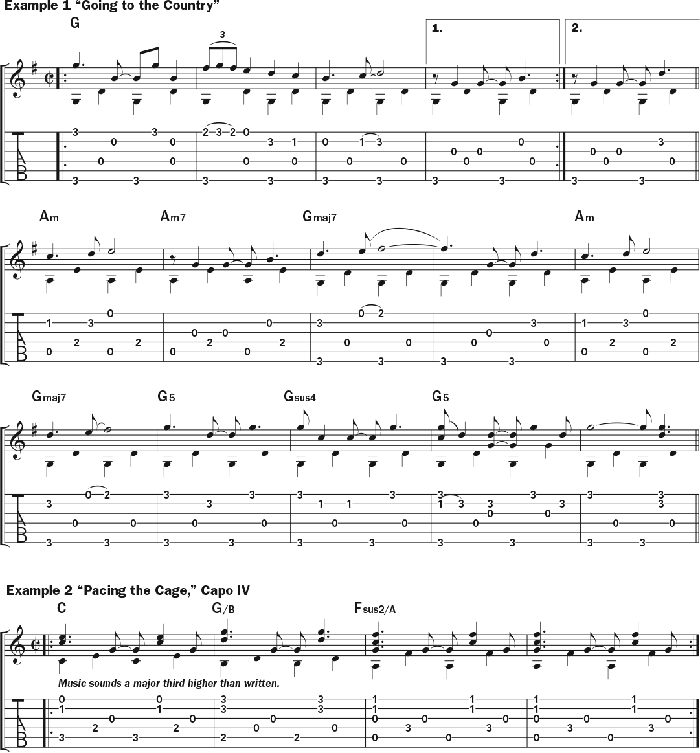 Bruce Cockburn - chords Example 1 & 2 Going to the Country & Pacing The Cage