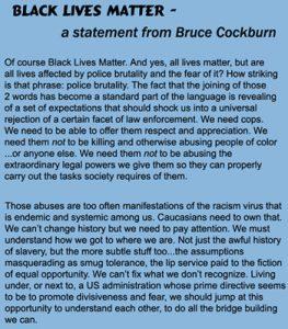 Black Lives Matter - a statement by Bruce Cockburn