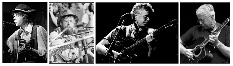 Bruce Cockburn - through the years - 1st photo: 1969 Riverboat - York University; 2nd photo: 1975 Winnipeg Folk Festival - David Landy Collection, Archives of Manitoba; 3rd photo: william whear billpix.com; 4th photo: 2011 Kate Wolf Music Festival - Kim Sallaway Photography