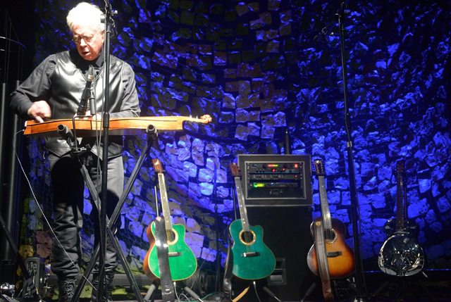 Bruce Cockburn - playing dulcimer - guitars - Photo courtesy of Agnes Patak - April 2014