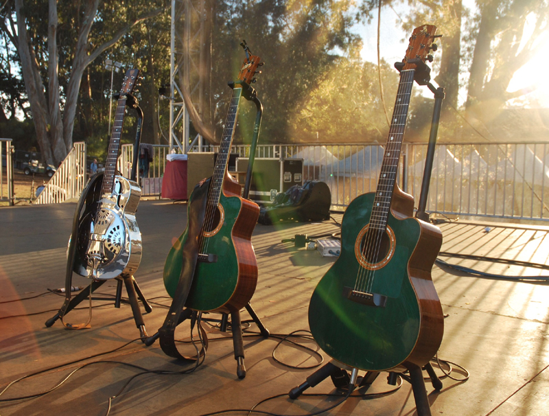 Bruce Cockburn's guitars at Hardly Strictly Bluegrass - SF 2014 - photo Gary Craig