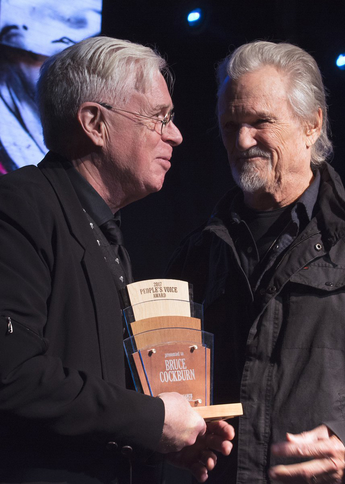 Bruce Cockburn Peoples Voice Award presented by Kris Kristofferson - photo Andrea Brookhart
