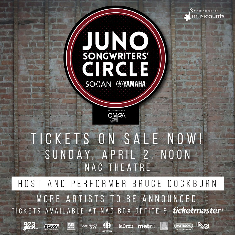 Bruce Cockburn hosting 2017 JUNO SongWriters' Circle