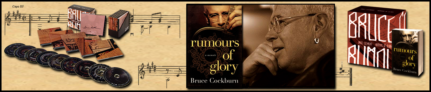 Bruce Cockburn- Rumours of Glory banner - photo Daniel Keebler 2010