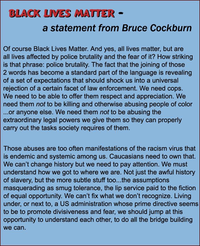 Bruce Cockburn statement on Black Lives Matter June 2020